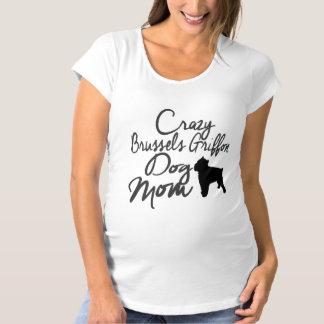 Verrückte Hundemamma Brüssels Griffon Schwangerschafts T-Shirt