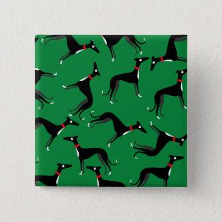 Verrückte Jagdhunde Quadratischer Button 5,1 Cm
