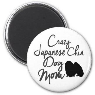 Verrückte Japanerchin-Hundemamma Runder Magnet 5,7 Cm