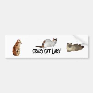 Verrückte Katzen-Dame Autoaufkleber