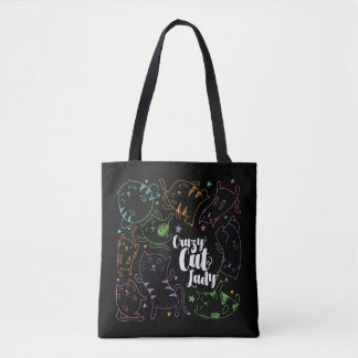 Verrückte Katzen-Dame Colorful Cartoon Pattern Tasche