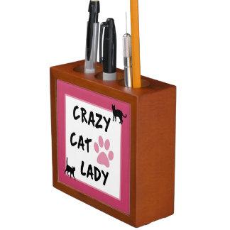 Verrückte Katzen-Dame Desk Organizer