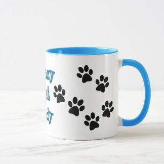 Verrückte Katzen-Dame Pawprints Design Coffee Mug Tasse