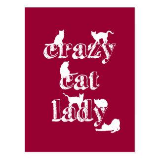 Verrückte Katzen-Dame Postkarte