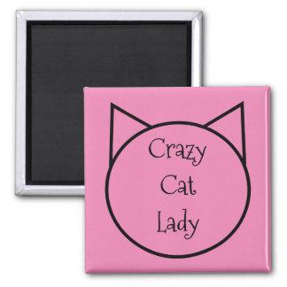 Verrückte Katzen-Dame Quadratischer Magnet