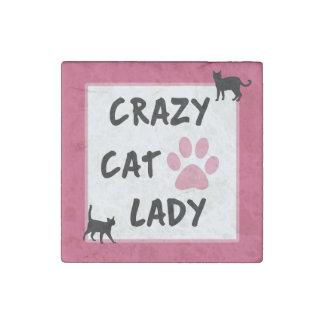 Verrückte Katzen-Dame Stone Magnet