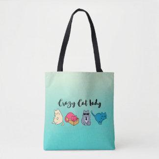 Verrückte Katzen-Dame und 4 niedliche Katzen Tasche