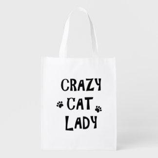 Verrückte Katzen-Dame Wiederverwendbare Einkaufstasche
