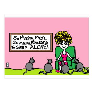 Verrückte Katzen-Dame zu Hause Postkarte