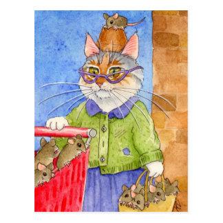 Verrückte Katzen-Damenpostkarte Postkarte
