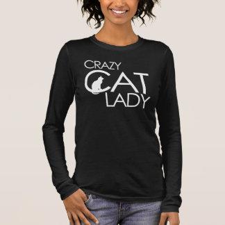 Verrückte Katzendame Langarm T-Shirt