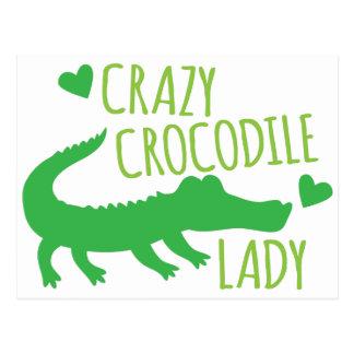 Verrückte Krokodil-Dame Postkarte