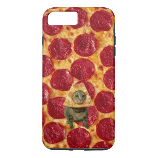Verrückte Pepperoni-Pizza und Pizza-Katze iPhone 7 Plus Hülle