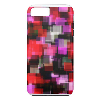 Verrückte rote u. rosa Pixel-Verrücktheit!! iPhone 8 Plus/7 Plus Hülle