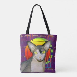 Verrückter Katzen-Entwurf mit Sphynx Katze und Tasche