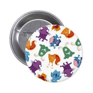 Verrückter Monster-Spaß-bunte Muster für Kinder Runder Button 5,7 Cm