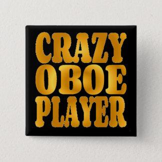 Verrückter Oboe Spieler im Gold Quadratischer Button 5,1 Cm