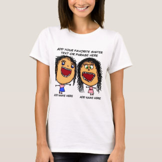Verrückter Schwester-Cartoon T-Shirt