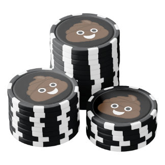 Verrücktes albernes Brown kacken Emoji Pokerchips