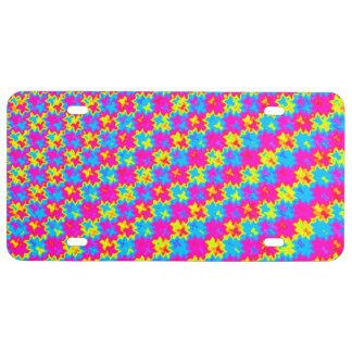 Verrücktes gelbes und rosa Muster US Nummernschild