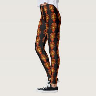 Verrücktes orange Schädel-Muster Leggings