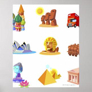Verschiedene Monumente der Welt Poster