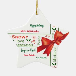 Verschiedene Sprachen der frohen Weihnachten Keramik Ornament