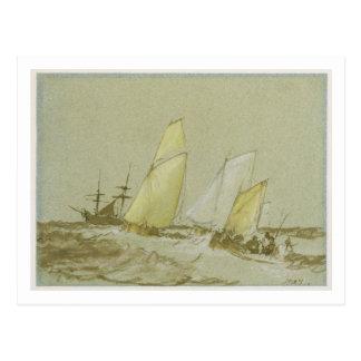 Verschiffen, c.1828-30 (Stift, Bürste u. braune Postkarte