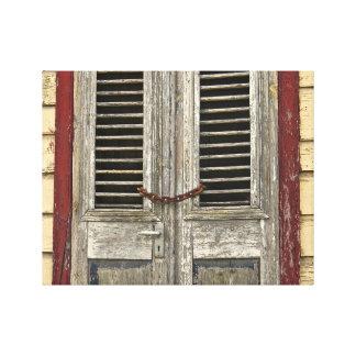 Verschlossene Tür - alte Tür - karibisches Haus Leinwanddruck