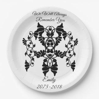 Verschönernde Schwarzweiss-Blumen für Begräbnis Pappteller