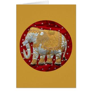 Verschönertes indischer Elefant-Rot und Gold Grußkarte