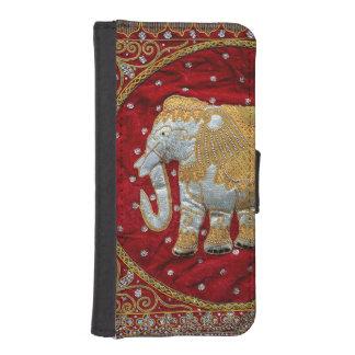 Verschönertes indischer Elefant-Rot und Gold iPhone 5 Portmonnaie