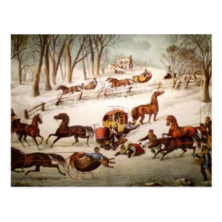 Verschütten heraus auf der Schnee-Feiertags-Karte Postkarte