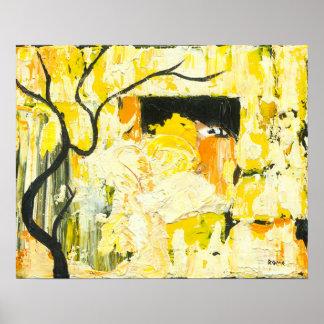 Versenken Sie - gelbe abstrakte Kunst Poster