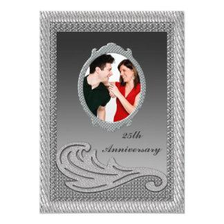Versilbern Sie 25. Hochzeits-Jahrestags-Party 12,7 X 17,8 Cm Einladungskarte