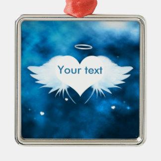 Versilbern Sie farbige Metallverzierung - Engel Quadratisches Silberfarbenes Ornament