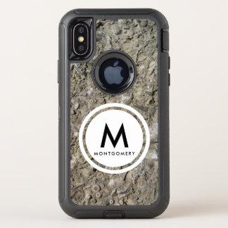 Versteinertes Hasch-Kalkstein-Monogramm OtterBox Defender iPhone X Hülle