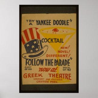 Versuch Ein-Yankee Gekritzel-Cocktail-Plakat