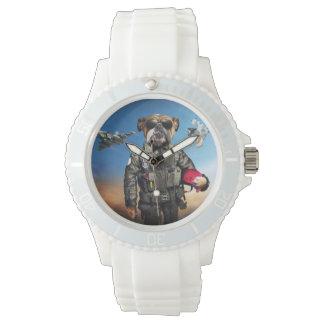 Versuchshund, lustige Bulldogge, Bulldogge Uhr