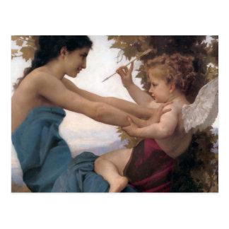 Verteidigung eines Herzens gegen Eros Bougereau Postkarte