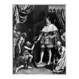 Verteilende Almosen St. Louis, c.1615-20 Postkarte