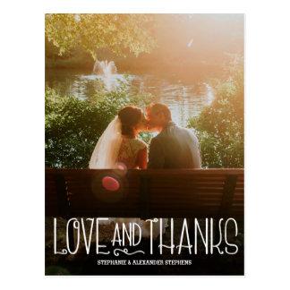 Vertikale der Wedding Liebe und Dank dankt Ihnen Postkarte