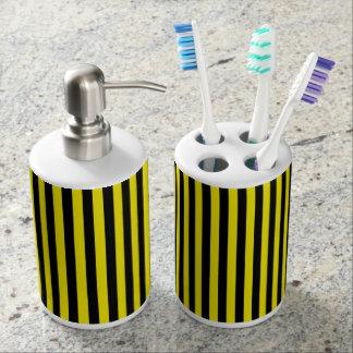 Vertikale schwarze und gelbe Streifen Seifenspender & Zahnbürstenhalter