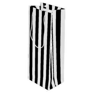 Vertikale Schwarzweiss-Streifen Geschenktüte Für Weinflaschen