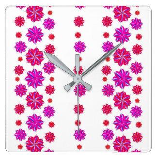 Vertikale Streifen-Blumenmuster-Collage Quadratische Wanduhr