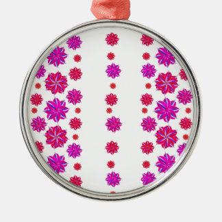 Vertikale Streifen-Blumenmuster-Collage Rundes Silberfarbenes Ornament