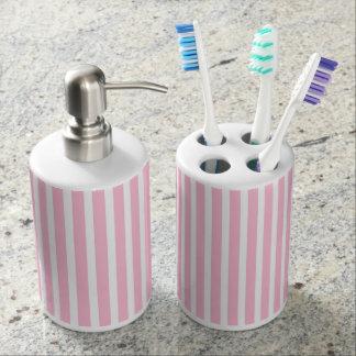 Vertikale weiche rosa und weiße Streifen Seifenspender & Zahnbürstenhalter