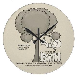 Vertrauen im Glauben Große Wanduhr