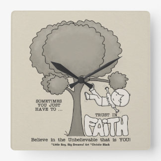 Vertrauen im Glauben Quadratische Wanduhr
