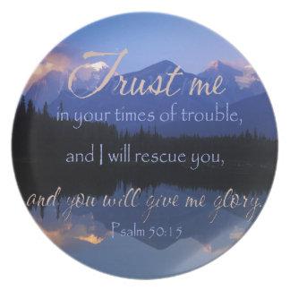 Vertrauen in mir zuzeiten des Problem-Psalm-50:15 Melaminteller